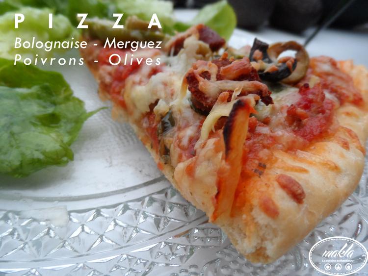 Pizza_Bolognaise, merguez, poivrons et olives 1