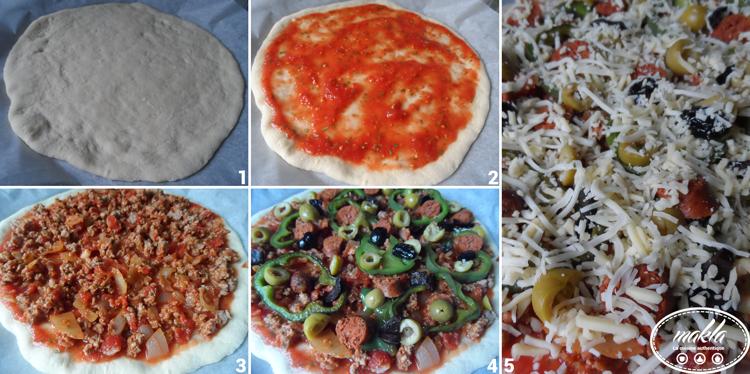 Pizza_Bolognaise, merguez, poivrons et olives 2