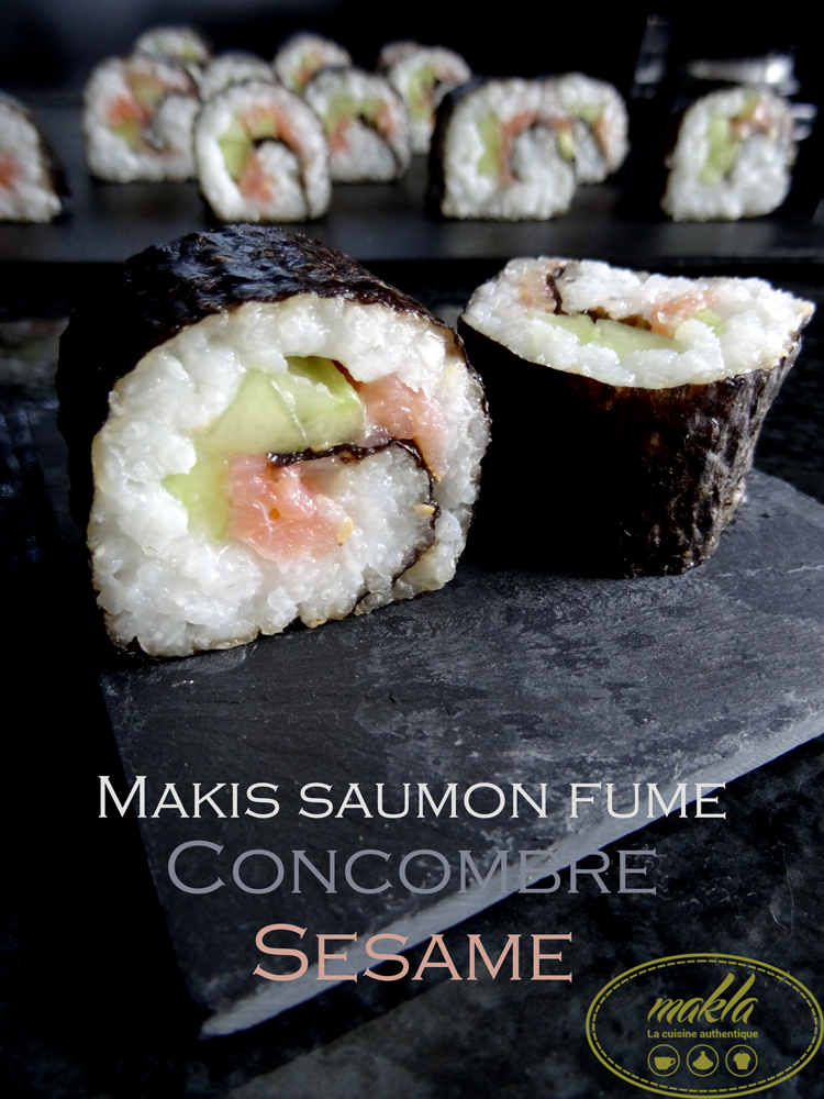 Makis saumon fumé, concombre, et sésame